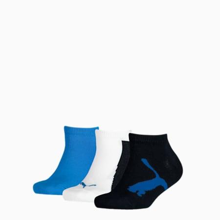 Kids' BWT Sneaker Socks 3 pack, navy / white / strong blue, small-GBR