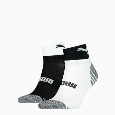 Men's Seasonal Quarter Socks 2 pack, black / white, small