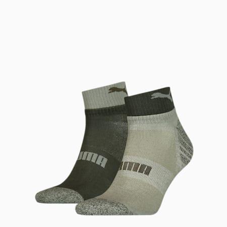 Men's Seasonal Quarter Socks 2 pack, green, small