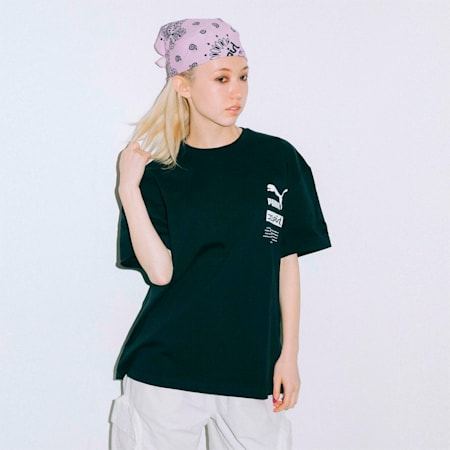 PUMA x X-girl 半袖 Tシャツ, puma black, small-JPN
