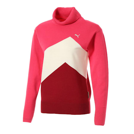 ゴルフ ウィメンズ カラー ブロック セーター, Azalea, small-JPN