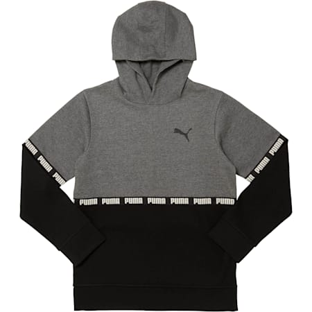 Boys' Colorblock Hoodie JR, CHARCOAL HEATHER, small