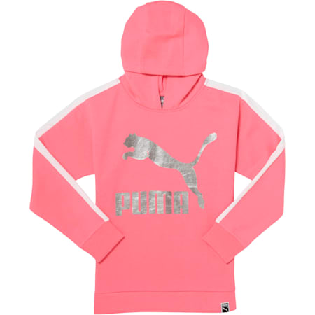 Girls' Oversized T7 Hoodie JR, KNOCKOUT PINK, small