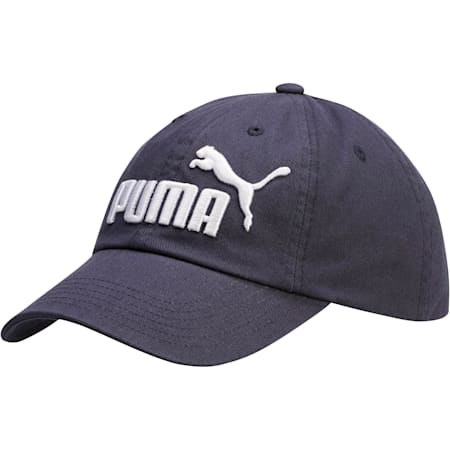 PUMA #1 Relaxed Fit Adjustable Hat, NAVY/WHITE, small