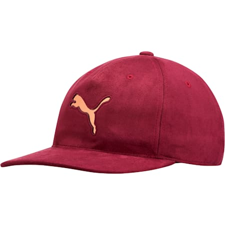 Women's Suede Relaxed Fit Hat, Maroon, small