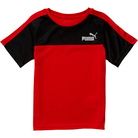 Little Kids' Poly Interlock Pieced Tee, HIGH RISK RED, small