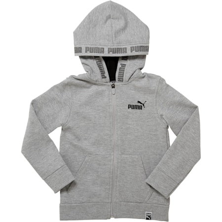 Little Kids' Fleece Full Zip Hoodie, LIGHT HEATHER GREY, small