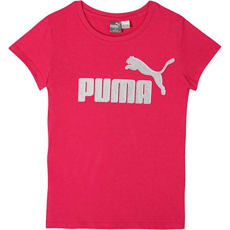 Girl's Cotton Jersey Logo Tee JR, FUSCHIA PURPLE, small