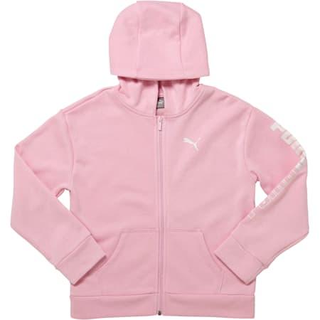 Girls' Fleece Full Zip Hoodie JR, PALE PINK, small
