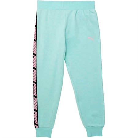 Pantalones de polar para correr para niña joven, FAIR AQUA HEATHER, pequeño
