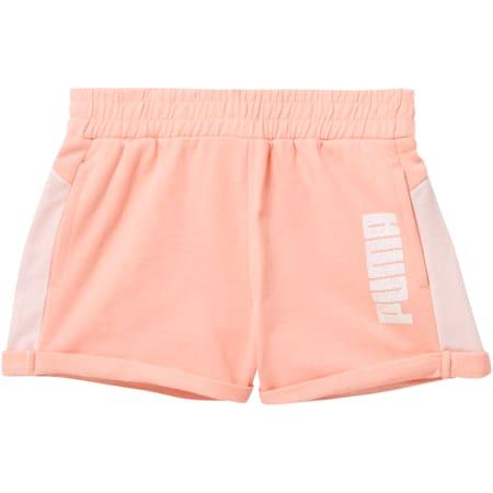 Little Kids' Cotton Terry Mesh Fashion Shorts, PEACH BUD, small