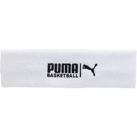 PUMA Basketball Sweat Headband, WHITE / BLACK, small