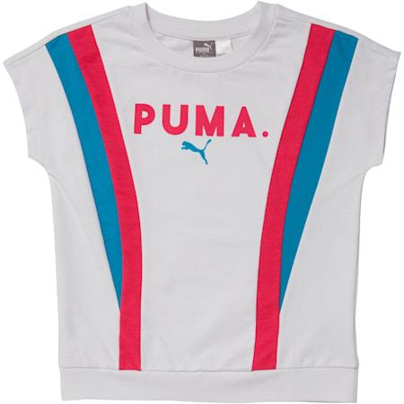 Girls' Colorblock Short Sleeve Pullover JR, PUMA WHITE, small