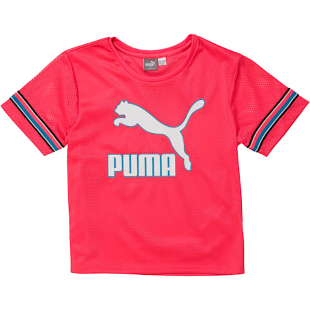 Girls' Mesh Sleeve Fashion Top JR, FUCHSIA PURPLE, small