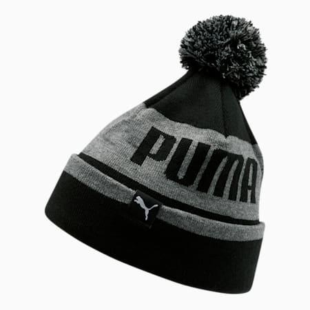 Gorro de lana PUMA para hombre, con pompón y dobladillo en contraste , Gris/Negro, pequeño
