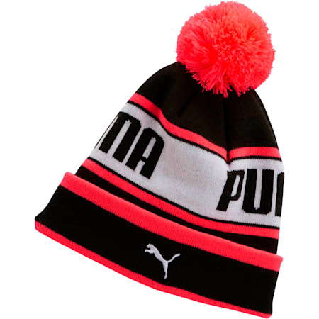 PUMA EVERCAT Girls' Warmup Beanie, BLACK / CORAL, small