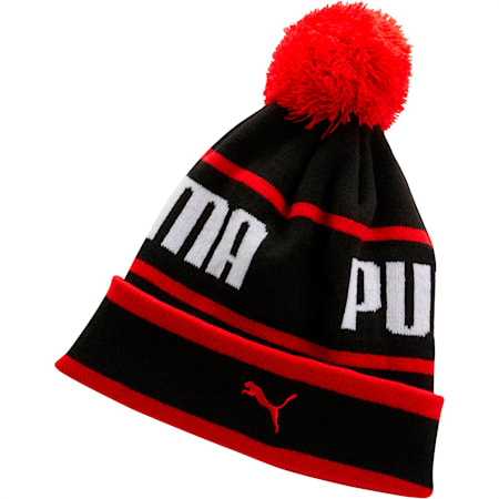 PUMA EVERCAT Boys' Warmup Beanie, BLACK/RED, small