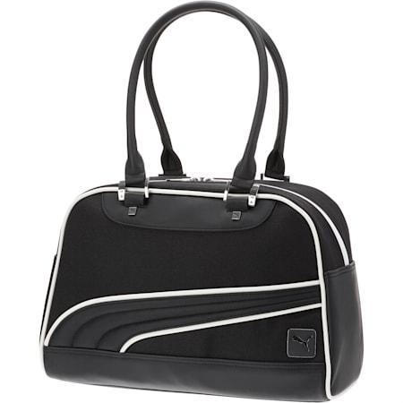 Bolso con correa de malla para mujer, Negro/Blanco, pequeño
