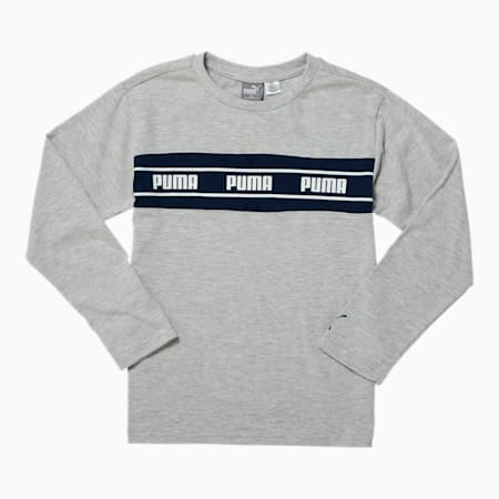 Amplified Pack Boys' Pieced Long Sleeve Tee JR, LT HEATHER GREY, small