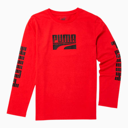 Rebel Boys' Long Sleeve Graphic Tee JR, HIGH RISK RED, small