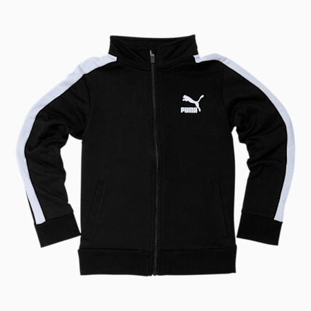 Chaqueta deportiva T7 para niño joven, PUMA BLACK/WHITE, pequeño