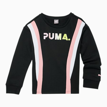 Chase Girls' Fleece Colorblock Crewneck Sweatshirt JR, PUMA BLACK, small