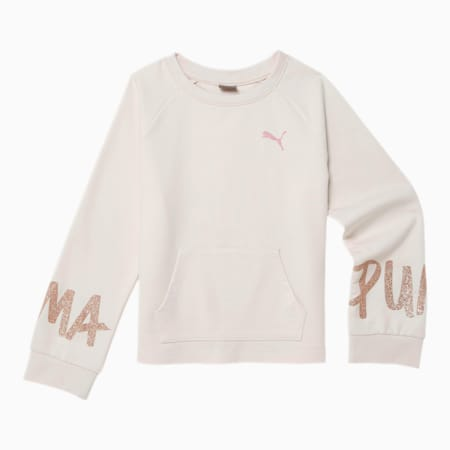 Tag Girls' French Terry Crewneck Sweatshirt JR, PASTEL PARCHMENT, small