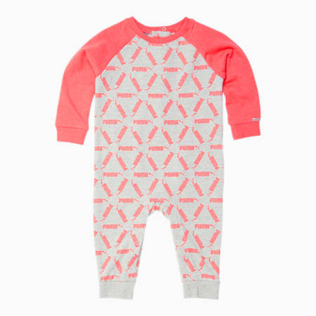 Infant Fleece AOP Coverall, OATMEAL HEATHER, small