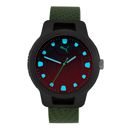 Reset Silicone V1 Men's Watch, Black/Green, small-IND