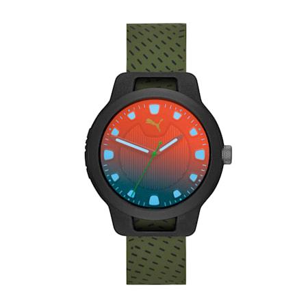 メンズ リセット シリコン V1  時計, Black/Green, small-JPN