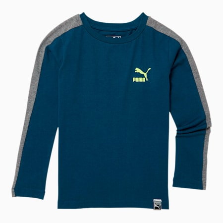 Luxe Pack Little Kids' T7 Long Sleeve Tee, GIBRALTAR SEA, small