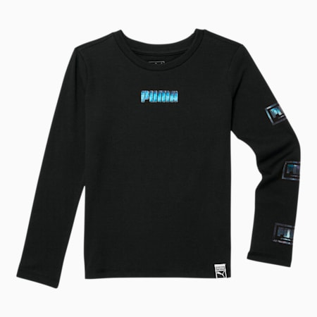 Holiday Pack Little Kids' Long Sleeve Graphic Tee, PUMA BLACK, small