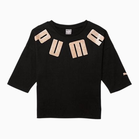 Classics Girls' 3/4 Sleeve Fashion Tee JR, PUMA BLACK, small