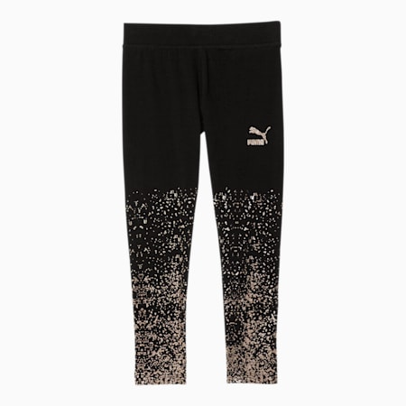 Classics Little Kids' Glitter Gradient Leggings, PUMA BLACK, small