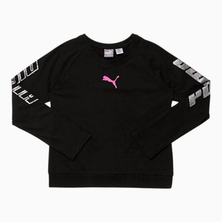 Modern Sports Girls' Long Sleeve Fashion Tee JR, PUMA BLACK, small