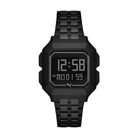Reloj digital de acero inoxidable negro Remix, Negro/Negro, pequeño