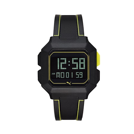 REMIX Unisex digitalt ur, Sort/gul, small