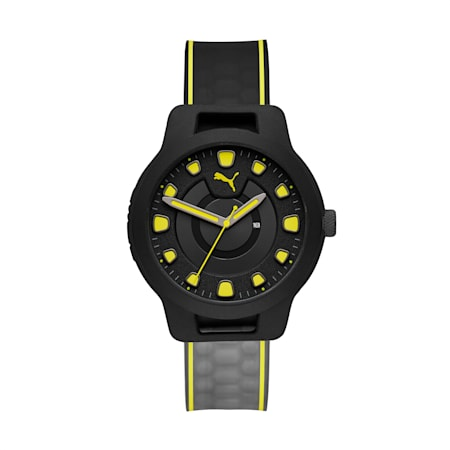 Montre Reset V1 Gradient Silicone pour homme, Black/Yellow, small