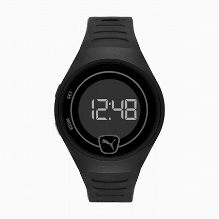 FOREVER FASTER Digital Unisex Watch, Black/Black, small