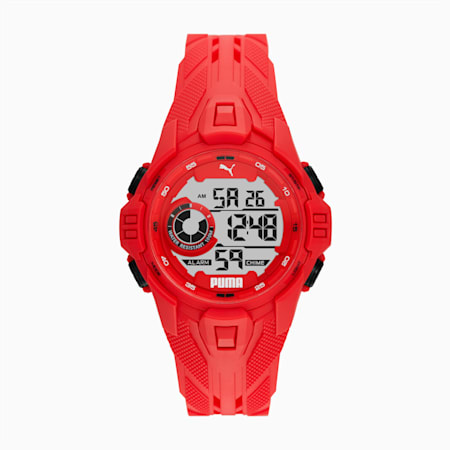 Bold Red Digital Watch, Red/White, small