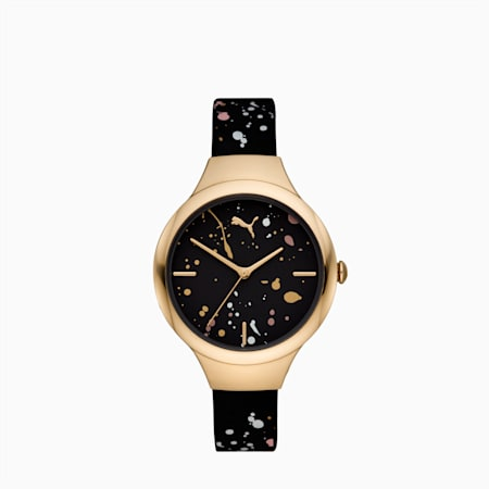 CONTOUR Ultra-Slim Damen Uhr, Black Multi/Gold, small