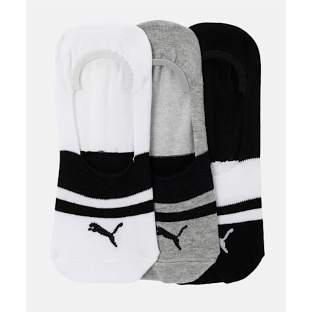 PUMA Heritage Footie Unisex Socks Pack of 3, Black / White / MGH, small-IND