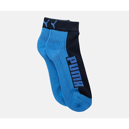 PUMA Logo Cushioned Unisex Quarter Socks Pack of 2, Navy/ Grey/ Strong Blue, small-IND