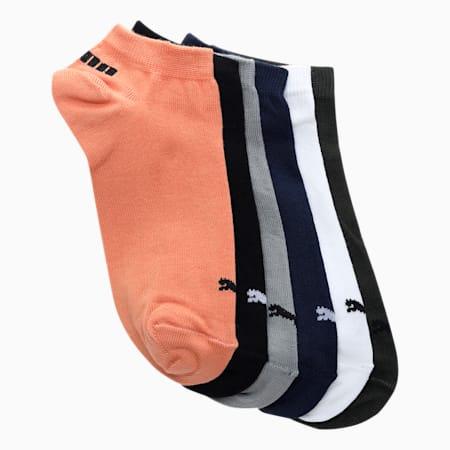 PUMA Unisex Sneakers Socks Pack of 6, White/Black/Beige/Olive/black white petrol stripe/peacoat wh, small-IND