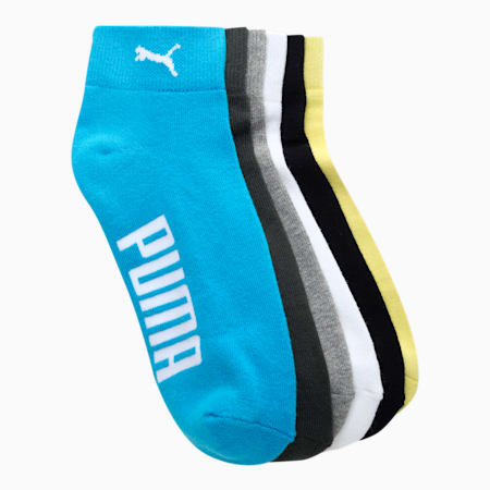 PUMA Half Terry Unisex Ankle Length Socks Pack of 6, Celandine/ MGH/ Nrgy Blue/ P, small-IND