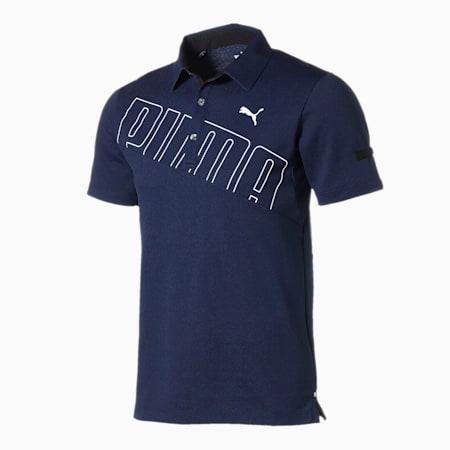 ゴルフ ビッグ プーマ ロゴ 半袖 ポロシャツ, Peacoat, small-JPN