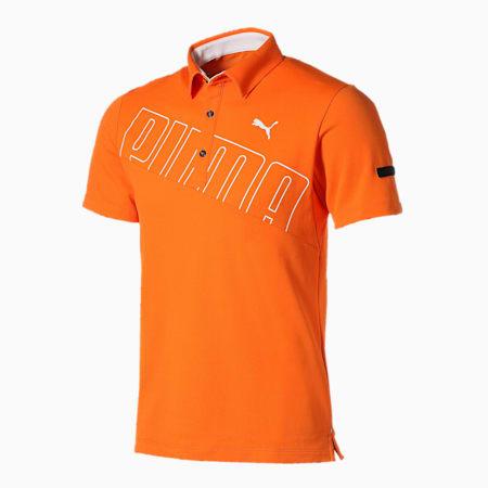 ゴルフ ビッグ プーマ ロゴ 半袖 ポロシャツ, Vibrant Orange, small-JPN