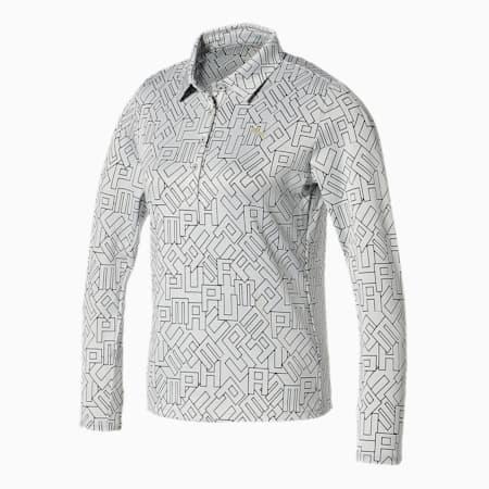 ゴルフ ロゴ グラフィック ウィメンズ 長袖 ポロシャツ, Bright White, small-JPN