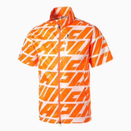 ゴルフ DAY LIGHT グラフィック 半袖 フルジップ ジャケット, VIBRANT ORANGE, small-JPN