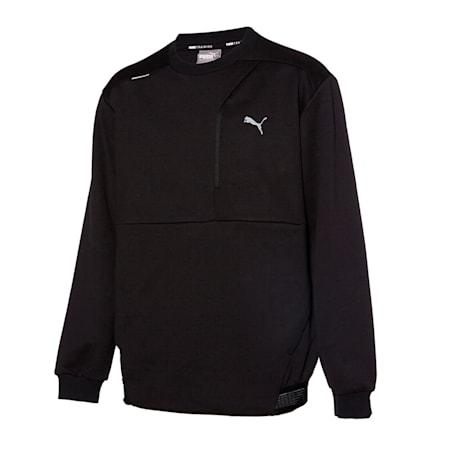 그리드 플러스 니트 크루 맨투맨/Grid Plus Knit Crew, puma black, small-KOR